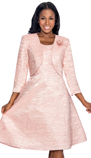 Giovanna 1422-PK ( 2pc Taffeta Ladies Fit And Flare Jacket Dress For Church With Jacket And Fabric Rose Brooch )