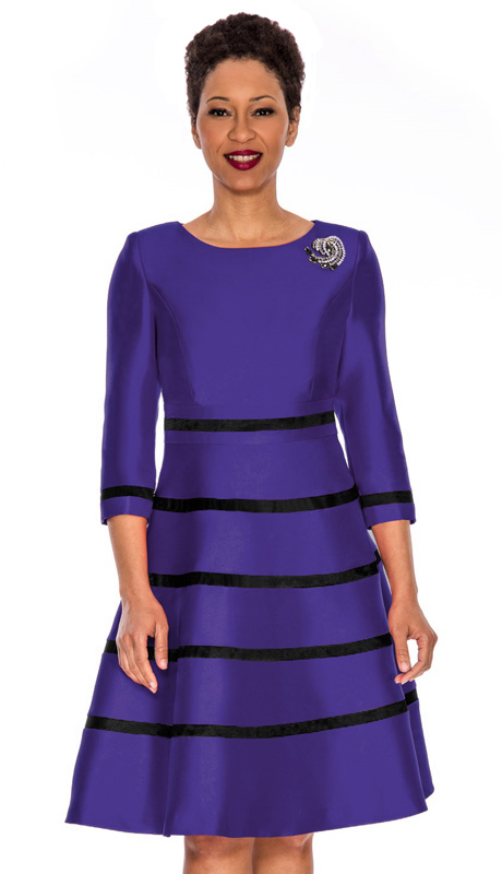 Giovanna 1446-PUR  ( 1pc Silk Look Women Church Fit And Flare Dress With Stripe Design And Rhinestone Brooch )
