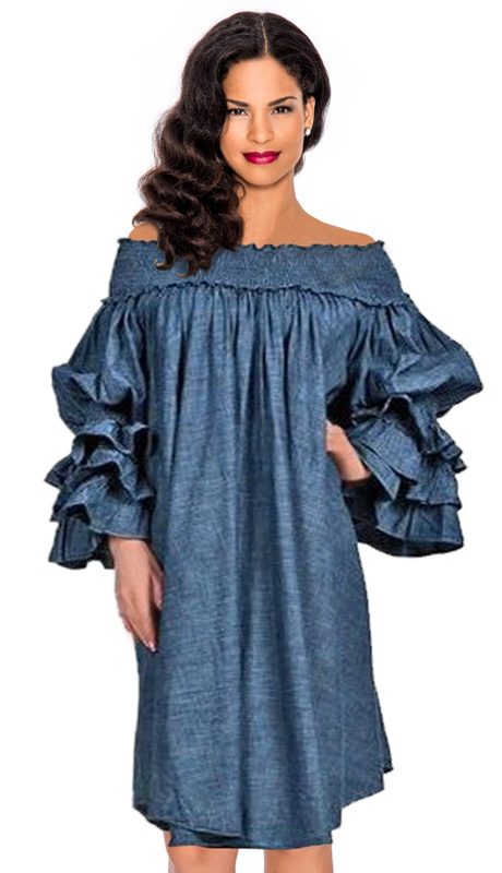 Giovanna 1476-228 ( 1pc Ladies Dress With Off-Shoulder Neckline And Tiered Ruffled Sleeve )