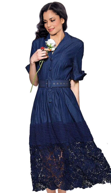 Giovanna 1477 ( 1pc Ladies Dress With Button Front, Belt, Pleated Waist Knit And Lace Hem )