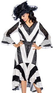 Giovanna 1483-WH ( 1pc Lace Church Dress For Ladies With Bold Striped Chevron Pattern, V-Neck, Flounce Sleeve And High-Low Hem )