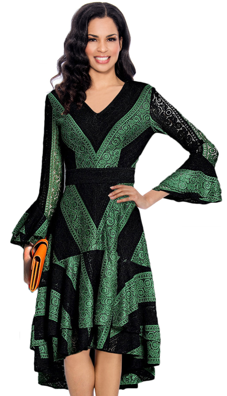 Giovanna 1483-GR-CO ( 1pc Lace Church Dress For Ladies With Bold Striped Chevron Pattern, V-Neck, Flounce Sleeve And High-Low Hem )