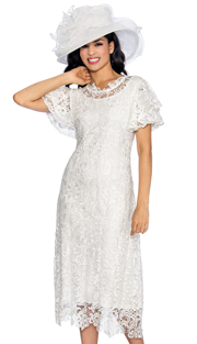 Giovanna 1478-WH ( 1pc Lace Womens Church Dress With Ruffle Collar And Butterfly Sleeves )