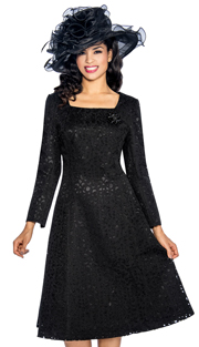 Giovanna 1462-BLK( 1pc Laser Cut Brocade Designer Church Dress With Rhinestone And Bead Brooch )