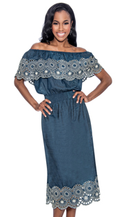 Giovanna D1489-DB-228 ( 1pc Dress With Lace Trim And Off The Shoulder Look )