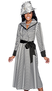 Giovanna D1336-312 ( 1pc Novelty Church Dress In Two Tone Pattern With Solid Cuffs And Belt )