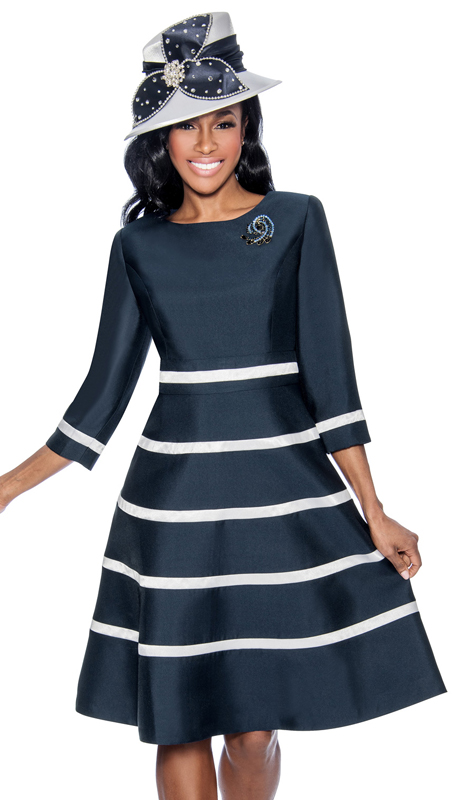Giovanna D1446-CO ( 1pc Silk Look Womens Church Fit And Flare Dress With Stripe Design And Rhinestone Brooch )