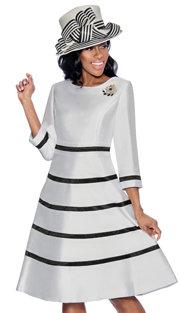 Giovanna D1446-W-IH ( 1pc Silk Look Womens Church Fit And Flare Dress With Stripe Design And Rhinestone Brooch )