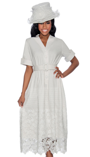 Giovanna D1477-W-228 ( 1pc Ladies Dress With Button Front, Belt, Pleated Waist Knit And Lace Hem )