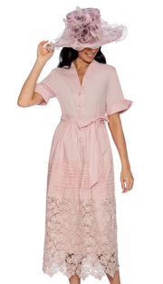 Giovanna D1477-P-228 ( 1pc Ladies Dress With Button Front, Belt, Pleated Waist Knit And Lace Hem )