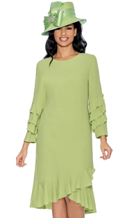 Giovanna D1484-L-IH ( 1pc Silk Look Church Dress With Ruffle Trims )