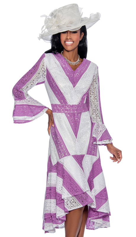 a6725d1852b Giovanna D1483-WL-IH ( 1pc Lace Church Dress For Ladies With Bold Striped