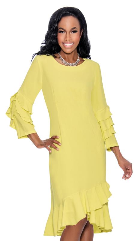 Giovanna D1484-Y-IH ( 1pc Silk Look Church Dress With Ruffle Trims )
