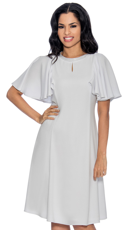 Giovanna D1485-W-CO ( 1pc Church Dress With Rhinestone Neckline Above Keyhole Opening And Flare Trim )