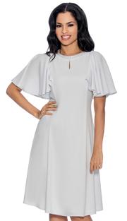 Giovanna D1485-W-IH ( 1pc Church Dress With Rhinestone Neckline Above Keyhole Opening And Flare Trim )