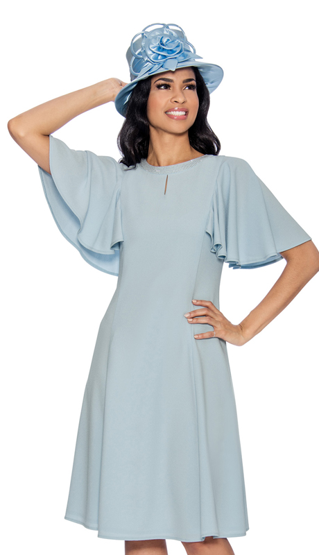 08a9eae681a Giovanna D1485-IB-IH ( 1pc Church Dress With Rhinestone Neckline Above  Keyhole Opening