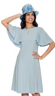 Giovanna D1485-IB-IH ( 1pc Church Dress With Rhinestone Neckline Above Keyhole Opening And Flare Trim )