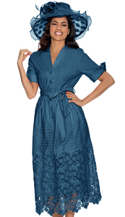 Giovanna D1477-DB-IH ( 1pc Ladies Dress With Button Front, Belt, Pleated Waist Knit And Lace Hem )
