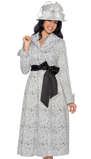 Giovanna D1335-315 ( 1pc Novelty Dress For Church With Unique Polka Dot Design And Belted Front )