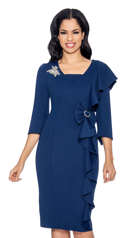 Giovanna D1495-N-315 ( 1pc Ladies Dress In Three-Quarter Sleeve, V-Neck, Cascading Ruffle And Bow At Waist )