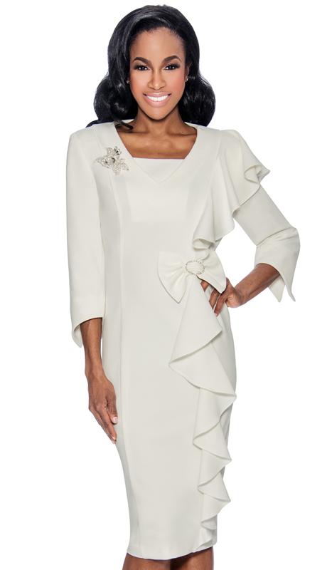 Giovanna D1495-W-315 ( 1pc Ladies Dress In Three-Quarter Sleeve, V-Neck, Cascading Ruffle And Bow At Waist )