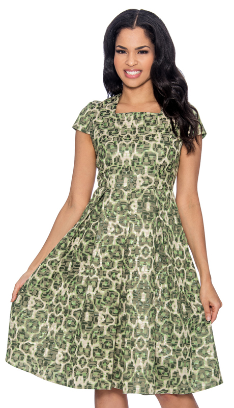 Giovanna D1497-LG-315 ( 1pc Ladies Dress In Brocade With Organic Pattern, Square Neckline, Cap Sleeve And Pleated Waist )