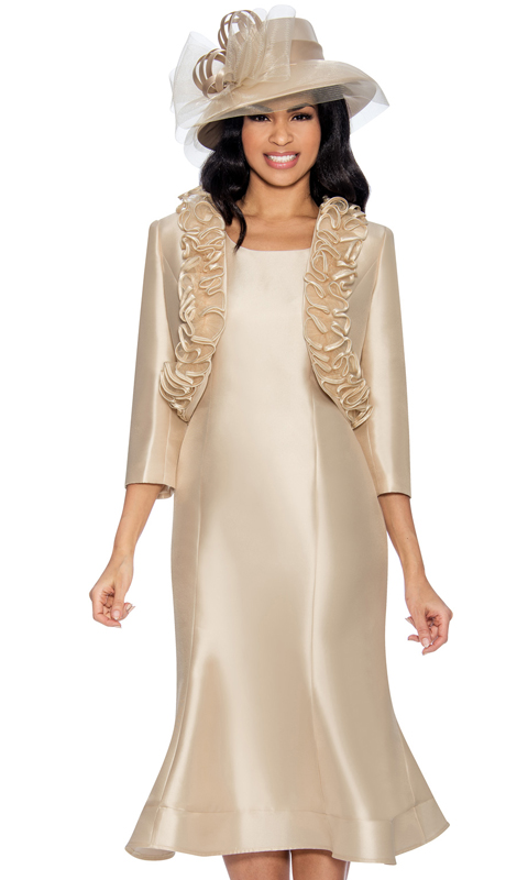 Giovanna D1499-Ch-315 ( 2pc Ladies Silk Dress With Flared Hem And Ruffled Bolero Jacket )