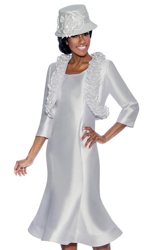 Giovanna D1499-W-315 ( 2pc Ladies Dress With Flared Hem And Ruffled Bolero Jacket )