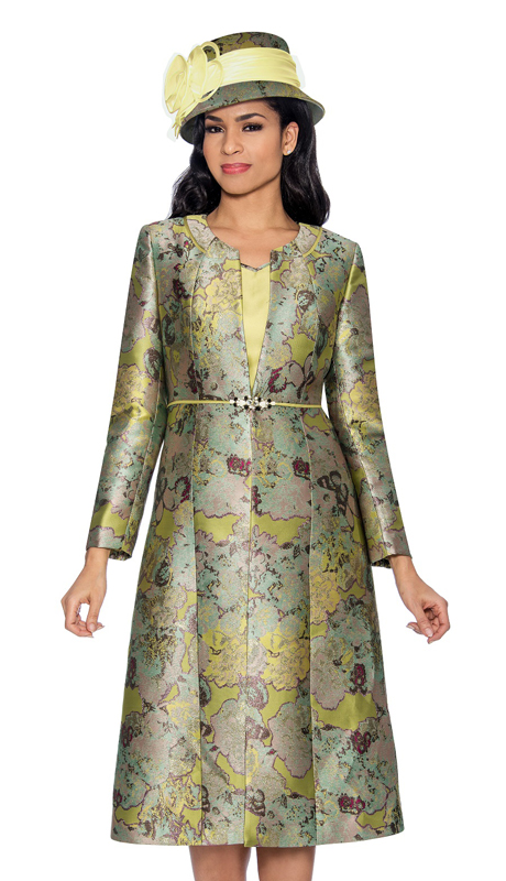 Giovanna G1062-M-315 ( 2pc Ladies Dress In Brocade With Organic Pattern )