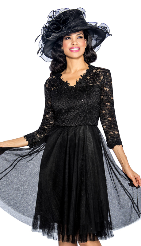 Giovanna D1474 ( 1pc Womens Church Dress With Ruffled Bottom And Cut Out Sleeves )
