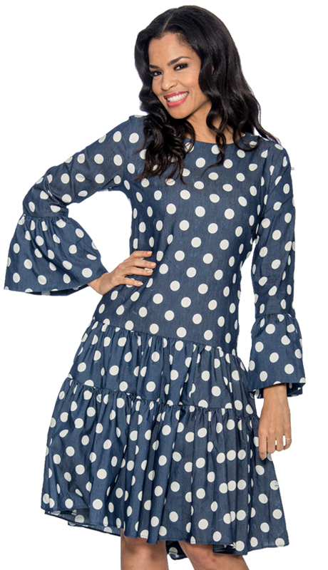 Giovanna 1325 ( 1pc Denim Look Womens Dress With Polka Dots And Flare Sleeves )