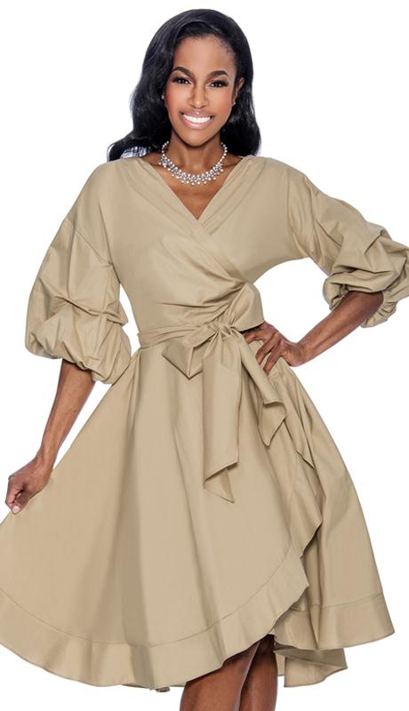 Giovanna D1475-K-228 ( 1pc Taffeta Ladies Wrap Dress For Church With Fabric Waist Belt And Puff Sleeves )