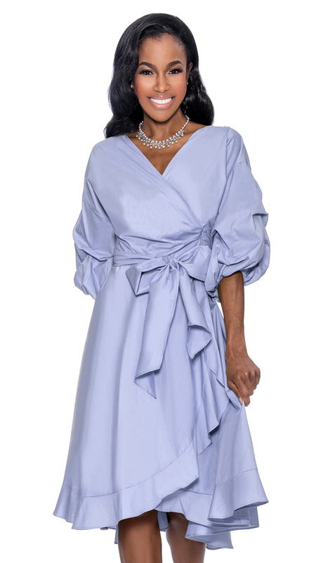 Giovanna D1475-L-CO ( 1pc Denim Look Ladies Wrap Dress For Church With Fabric Waist Belt And Puff Sleeves )