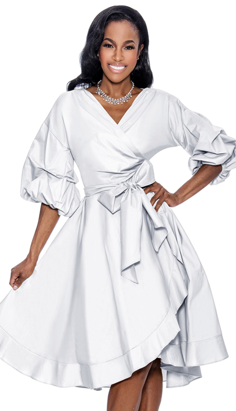 Giovanna D1475-WH ( 1pc Taffeta Ladies Wrap Dress For Church With Fabric Waist Belt And Puff Sleeves )