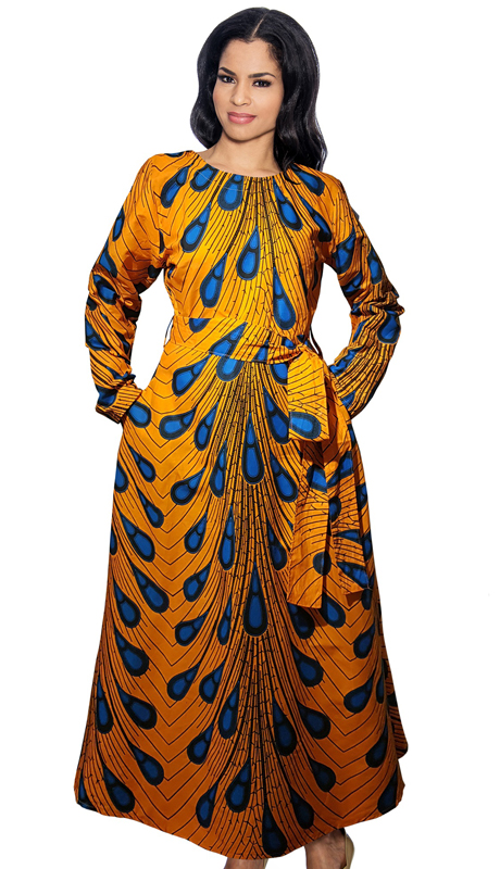 Giovanna D1320-M ( 1pc Womens Cotton Dress In Natural Wax Print )