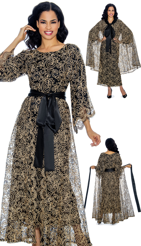 Giovanna D1344-BG-CO ( 3pc Multi Purpose Lace Church Dress With Solid Sash And Matching Lace Cape, The Cape Can Also Be Used As An Overlay Skirt )
