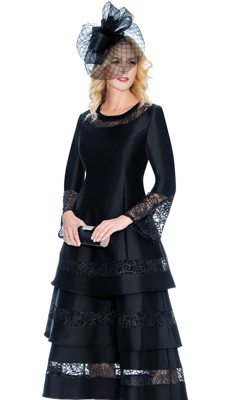 Giovanna D1346-B-CO ( 1pc Silk Look Dress With 3 Tiered Lace Trim And Lace Inserts On Cuffs And Neckline )