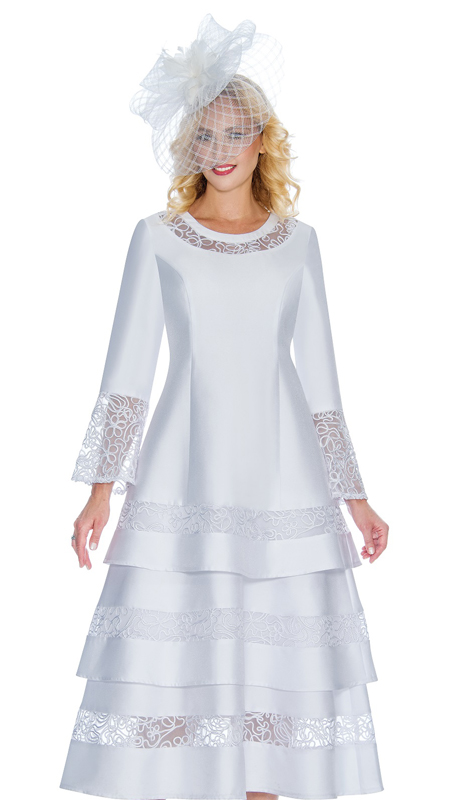 Giovanna D1346-W-CO ( 1pc Silk Look Dress With 3 Tiered Lace Trim And Lace Inserts On Cuffs And Neckline )