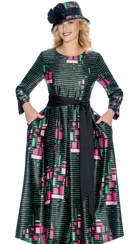 Giovanna D1349 ( 1pc Geometric Print Silk Look Church Dress )