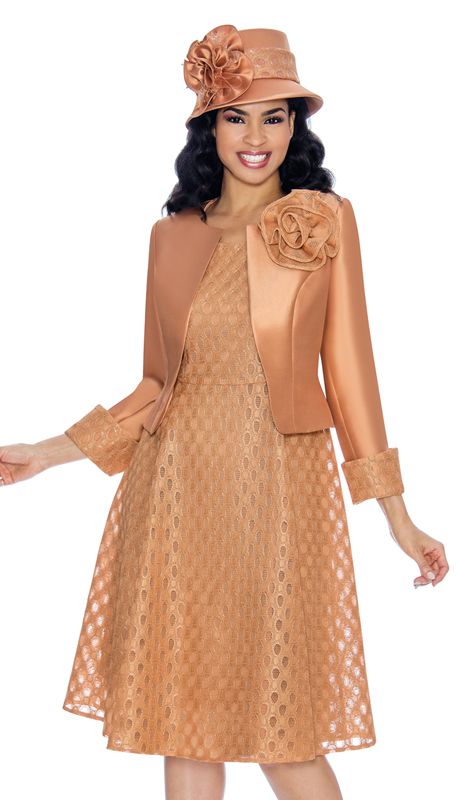 Giovanna G1081-G ( 2pc Ladies Silk Look Jacket Dress For Church With Lace Laser Cut Outs )