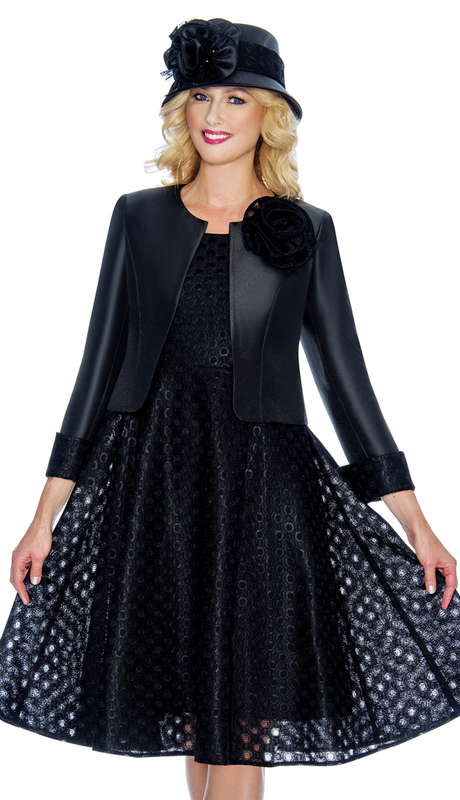 Giovanna G1081-Blk ( 2pc Ladies Silk Look Jacket Dress For Church With Lace Laser Cut Outs )