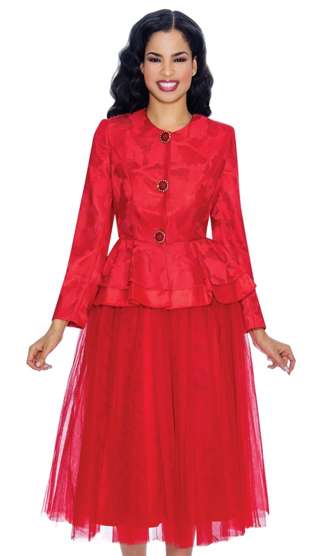 Giovanna G1080-R ( 2pc Lace And Tulle Ladies Peplum Sunday Suit With Jacquard Jacket )