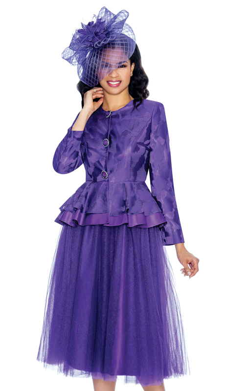 Giovanna G1080-P ( 2pc Lace And Tulle Ladies Peplum Sunday Suit With Jacquard Jacket )