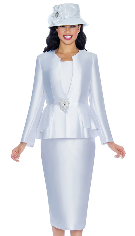 Giovanna G1069A-W ( 3pc Silk Look Womens Church Suit With Solid Layering And Gorgeous Jeweled Button )
