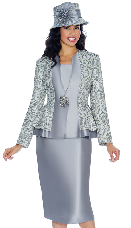 Giovanna G1069-St ( 3pc Brocade Womens Church Suit With Solid Layering And Swirl Pattern With Gorgeous Jeweled Button )