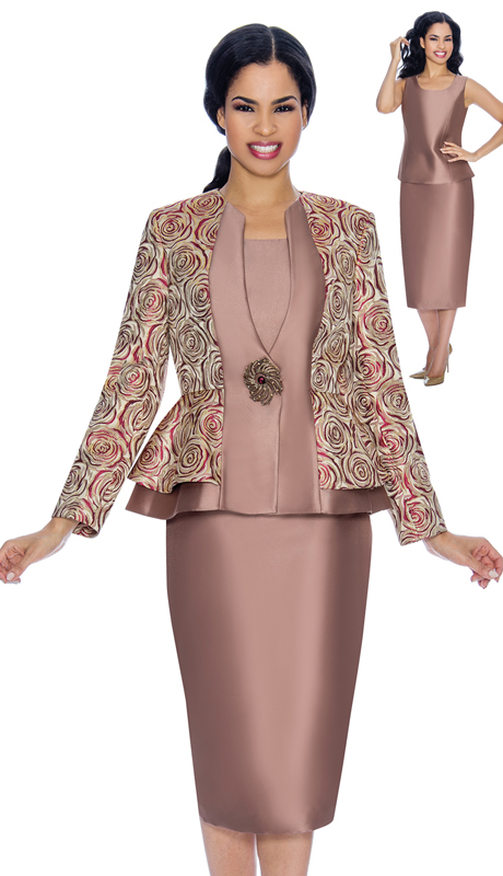 Giovanna G1069-C ( 3pc Brocade Womens Church Suit With Solid Layering And Swirl Pattern With Gorgeous Jeweled Button )
