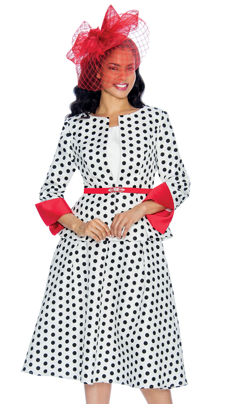 Giovanna G1082 ( 3pc Ladies Polka Dot Brocade Church Suit With Solid Roll Up Sleeves )