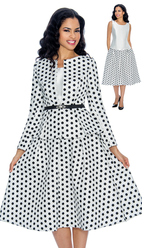 Giovanna G1082-BW ( 3pc First Ladies Polka Dot Brocade Flare Skirt Suit For Sunday )