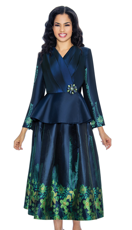 Giovanna G1068-NG-CO ( 2pc Ladies Digitally Printed Silk Church Suit With Floral Patterning And Wrap Jacket )