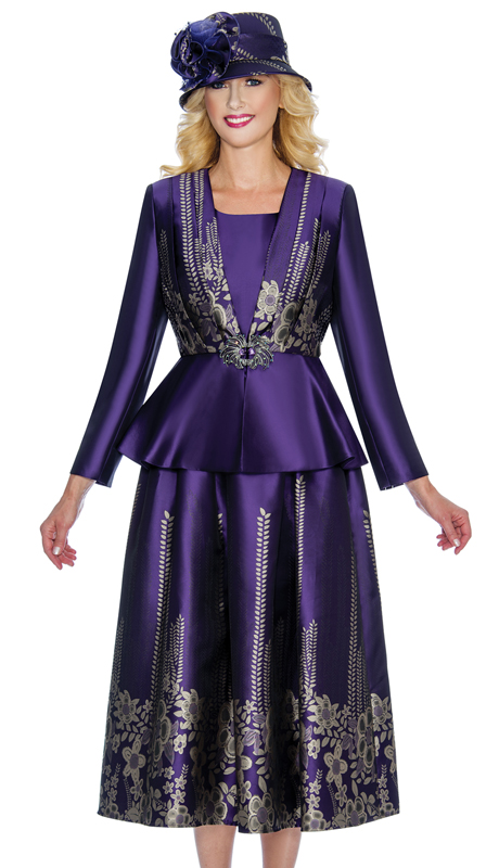 Giovanna G1067-PS ( 3pc First Ladies Digitally Printed Silk Peplum Church Suit With Floral Patterning )